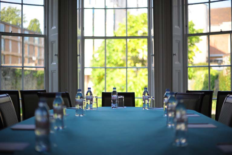 Image of public room set for meeting